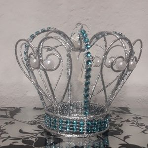 Other - Blue and silver pearl crown Christmas ornament